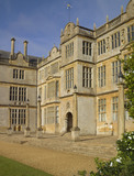 The projecting bay and entrance on the east front at Montacute House, Somerset