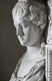 Close view of one of the caryatids on the Carrara marble chimneypiece in the Drawing Room at Berrington Hall, Herefordshire