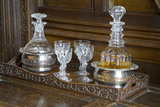 Decanters and glasses in the Drawing Room at Baddesley Clinton, West Midlands
