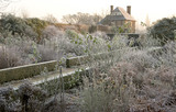 The Rose Garden in winter after a sharp frost at Sissinghurst Castle Garden, near Cranbrook, Kent