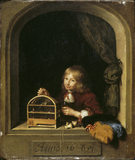 THE BOY WITH THE BIRD CAGE by Caspar Netscher (1639-1684)