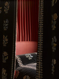 Close view of the black velvet bed hangings in the Mary, Queen of Scots' Room at Hardwick Hall, Derbyshire