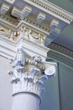 Column capital and ceiling of the Palladian Chapel, begun in 1760 to the design of James Paine, at Gibside, Newcastle upon Tyne