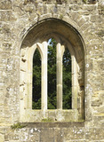 The large pointed east window of the Chapel at Bodiam Castle, East Sussex, built between 1385 and 1388