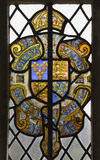Heraldic stained glass in the Great Hall at Montacute House, Somerset
