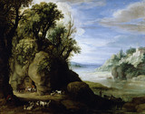 LANDSCAPE WITH TROGLODYTE GOATHERD by Paul Brill (1554-1626) from Petworth.  NT OWNED.