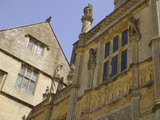 Close view of architectural details on the west front at Montacute House, Somerset