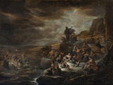 THE HOSTS OF PHARAOH ENGULFED BY THE RED SEA by Jacob de Wet (1610-after 1675), by a pupil or close follower of Rembrandt, painting in the Duke's Dressing Room at Ham House, Richmond-upon-Thames