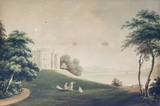 "VIEW OF PLAS NEWYDD FROM THE SOUTH  by John ""Warwick"" Smith (1794-1831), painting on the Middle Landing at Plas Newydd, Anglesey"