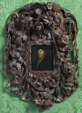 ERASMUS after Hans Holbein the Younger, painting photographed with the frame, in the Green Closet at Ham House, Richmond-upon-Thames