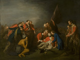 DEATH OF WOLFE by George Roth Jr, 1784. Painting at Quebec House, Westerham, Kent.This is a copy of the famous painting by the American artist Benjamin West, 1770, which depicts General James Wolfe dying, surrounded by 1