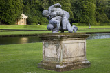 Statue of The Wrestlers with the Temple of Piety in the distance at Studley Royal Water Garden, North Yorkshire