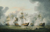 A painting of THE SITUATION OF THE SANDWICH WHEN ATTACKED BY THE FRENCH ADMIRAL AND HIS SECONDS, 17TH APRIL 1780 by Thomas Luny (1759-1837) in the Dining Room