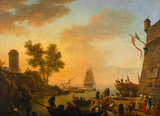 FOUR TIMES OF DAY, EVENING: HARBOUR SCENE WITH BOATS BEING UNLOADED AND SPECTATORS by Joseph Vernet (1714-1789) at Uppark