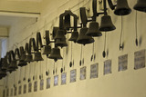 Long line of servants bells in the corridor next to the Still Room at Dunham Massey, Cheshire