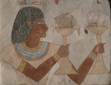 MAN WITH OFFERINGS OF DUCKS, Egyptian wallpainting, part of William Bankes' Egyptian collection