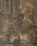 NIGHT, one of four views by Hogarth (1697-1764) of the times of day from the Print Room at The Vyne