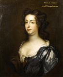 JULIA, LADY CONYERS, MOTHER-IN-LAW OF THE BUILDER OF WALLINGTON, in a blue and red dress on a very dark background