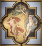 Close view of the painted Library ceiling, by Guido Reni (1575-1642)