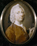 JOHN CHUTE (1701-1776) HOLDING HIS SPECTACLES, a miniature attributed to Pompeo Batoni (1708-1787)