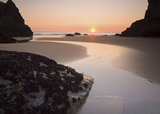Sunset on Bedruthan Steps beach (Not National Trust), North Cornwall