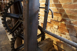 Close view of the machinery at Winchester City Mill, Hampshire, the C18th watermill where corn is ground into flour