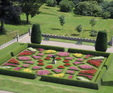 View of the colourful plantings in the geometric box-edged parterre in the garden at Lanhydrock, taken from the Church tower