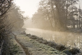 Frosty dawn at Triggs Lock, Send, Surrey, on the River Wey Navigations
