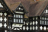 Close view of the black and white half-timbering on the east front at Wightwick Manor, Wolverhampton, West Midlands