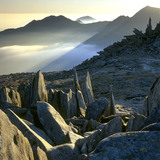 A view from Glyder Fach looking south-west towards Snowdon, depicting the Castell y Gwynt rock formations