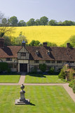 The fifteenth-century cottages, and lawn from the top of the Gatehouse Tower at Ightham Mote, Sevenoaks, Kent, a fourteenth-century moated manor house