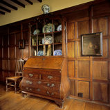 The C18th. Dutch oak bombe bureau cabinet in the Parlour