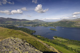 The view on a summers day from Catbells towards Skiddaw, Blencathra and Keswick, in Cumbria