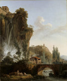 LANDSCAPE WITH RAVINE AND BRIDGE by French painter Jules Cesar Van Loo (1743- 1821)