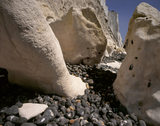 Close-up of chalk boulders at the White Cliffs of Dover coast