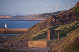 View along the Whitehaven Coast, Cumbria towards the wind turbines