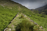 The remains of the mine railway track on Hafod Y Llan estate, Snowdonia