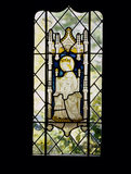 Medieval stained glass of Madonna & Child in a Canopy in a window in the Parlour at Stoneacre, a Wealden house in Otham, Kent