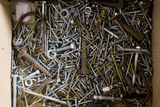 Box of screws and nails used backstage at the Theatre Royal, Suffolk, a restored Georgian theatre built in 1819 and still in use today