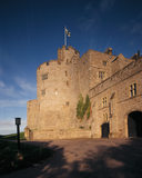 Adam's Tower at Chirk Castle from the south west, showing the junction of Mortimer's curtain wall with the south range