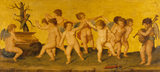 AMORINI DANCING, after Raphael (1483-1520) in the Picture Gallery at Attingham Park, depicting putti dancing and playing musical instruments