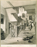 Print of THE STAIRCASE, ASTON HALL, WARWICKSHIRE, hanging in the Entrance Hall