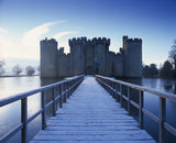 A view, taken in winter, across the moat bridge to the entrance front of Bodiam Castle