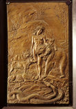 `MOWGLI'; one of John Lockwood Kipling's bronzed plaster reliefs for 'The Jungle Book' in the Inner Hall