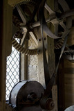Restored machinery inside Stainsby Mill, a working, water-powered flour mill on the  Hardwick Hall Estate, Derbyshire