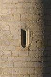 Detail of an arrow slit in the wall at Bodiam Castle