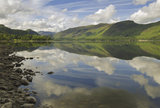 "The east shore of Derwentwater, looking south to Castle Crag and the ""Jaws of Borrowdale"", on a sunny summers day, Cumbria"