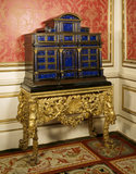 Late C17th Italian lapis lazuli cabinet on a Charles II giltwood stand at Belton House