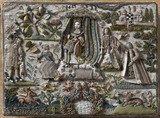 Detail of a stumpwork box dated 1693 and decorated with the Judgement of Solomon, in the Hall Chamber at Montacute House, Somerset