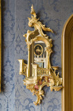Wall mirror detail in eighteenth century Rococo style in the Drawing Room at Hughenden Manor, Buckinghamshire, home of prime minister Benjamin Disraeli between 1848 and 1881